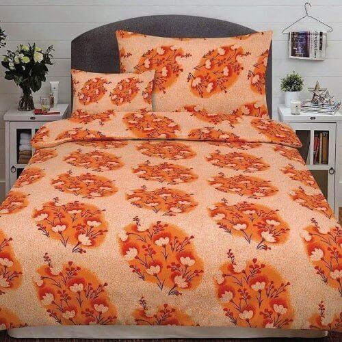 Flanel ágyneműhuzat 3 rész narancs színben virág minta