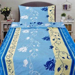 Bézs- világoskék színben virág mintás 3 részes pamut ágynemű