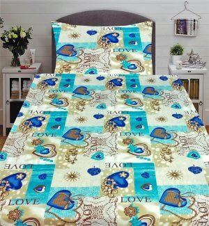 3 részes flanel ágyneműk krém színben kék szív és love minta