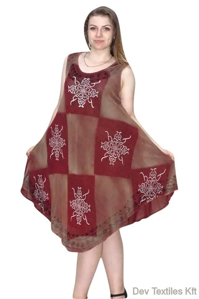 Csinos, rövid nyári ruha Indiából 2103 bordó