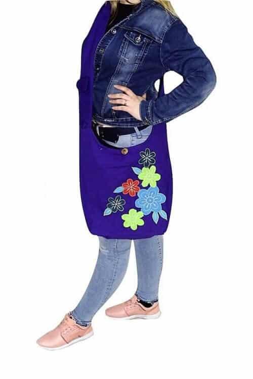 3 színben virág mintás női válltáska Nepálból lila