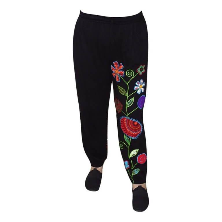 Nepáli nadrág fekete színben virág minta