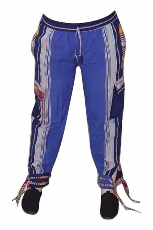 Nepáli nadrág kék színben csíkos minta