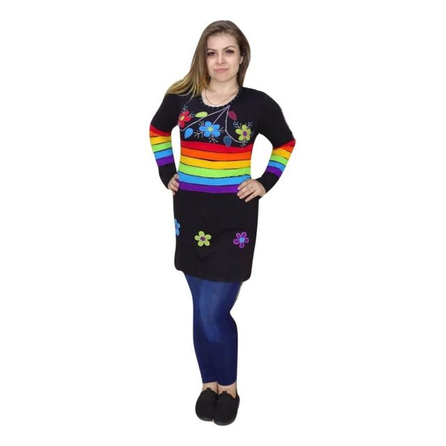 Fekete tunika nepálból szivárvány mintával