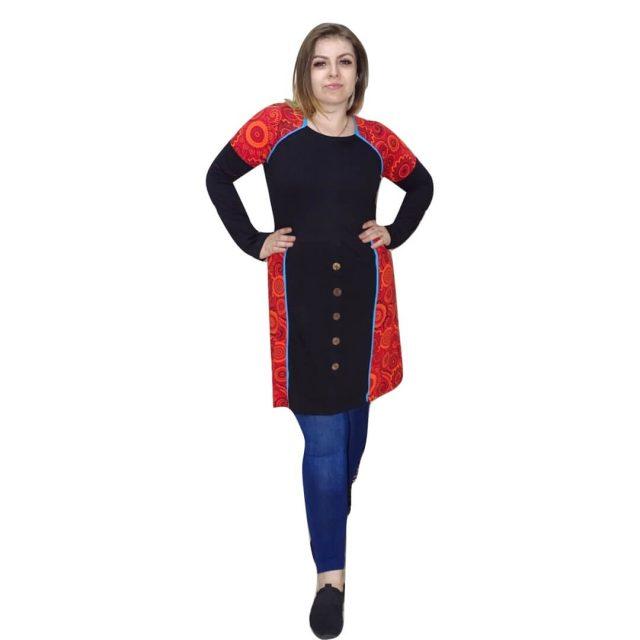Nepáli tunika fekete-piros színben mandala minta