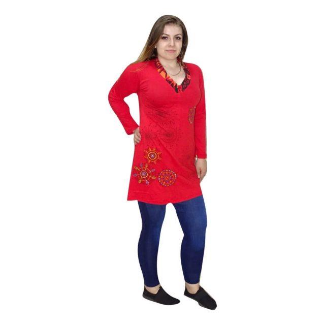 Piros tunika nepálból mandala mintával