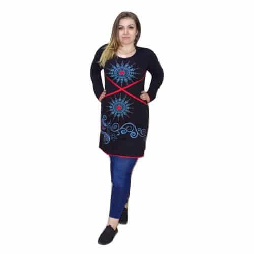 Piros-kék tunika nepálból mandala mintával
