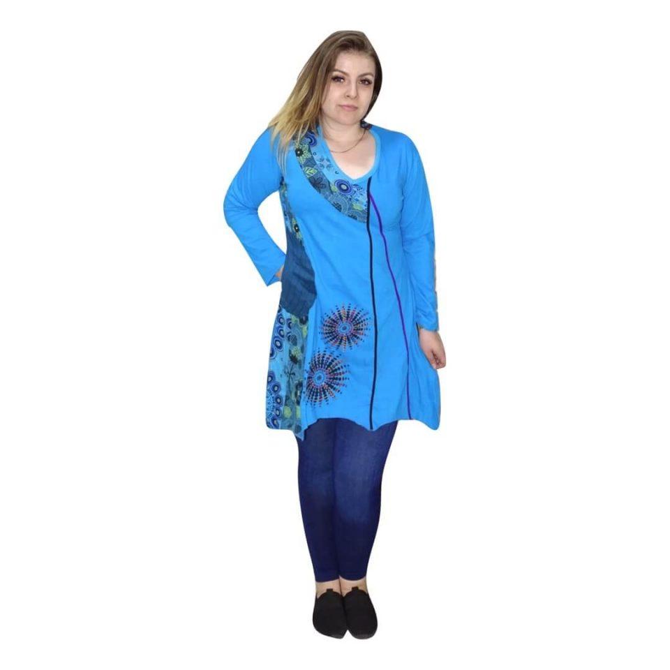 Kék tunika nepálból mandala mintával
