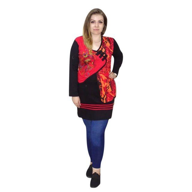 Piros-fekete tunika nepálból mandala mintával