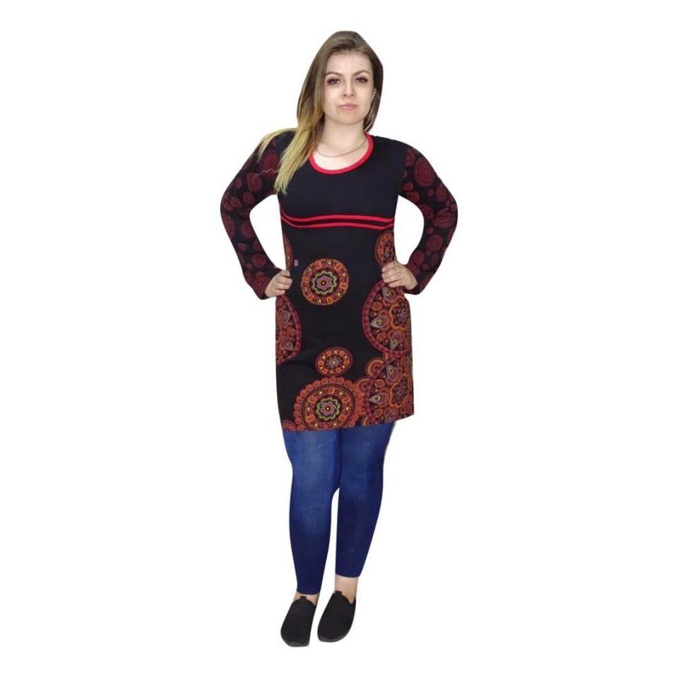 Fekete tunika nepálból piros mandala mintával