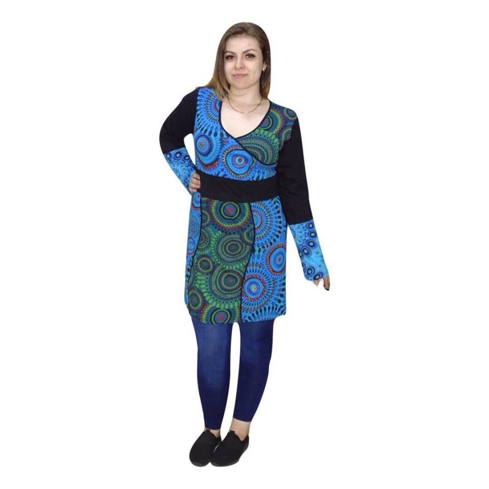 Nepáli tunika kék színben mandala mintával
