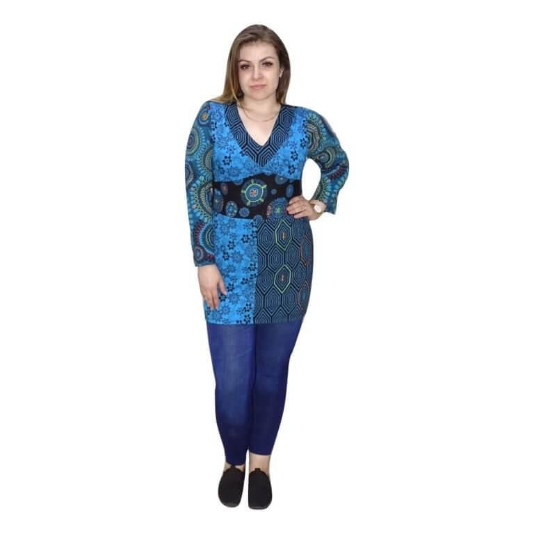 kék tunika mandala mintával