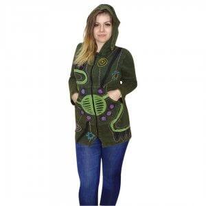 Zöld színes Nepáli hosszú kabát