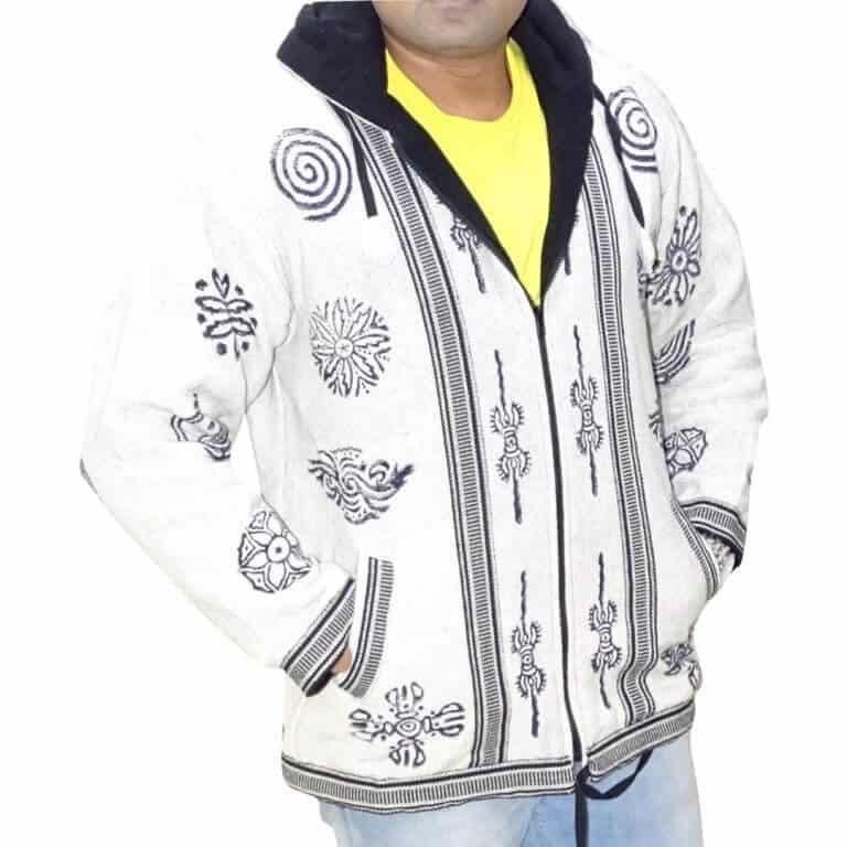 Férfi kabát Nepálból egyedi mintával 4 színben