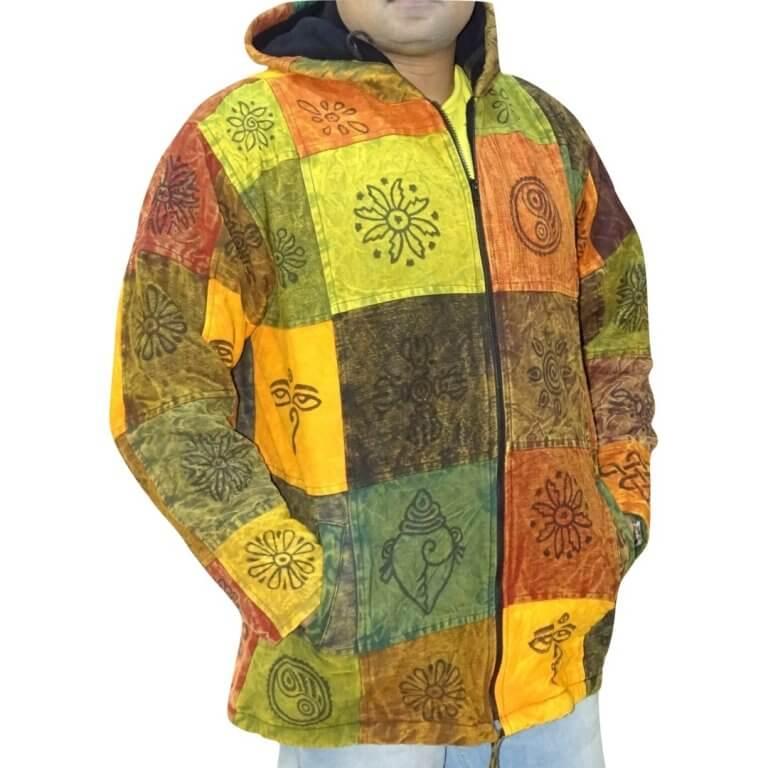 több színes kockás nepáli férfi kabát nepálból