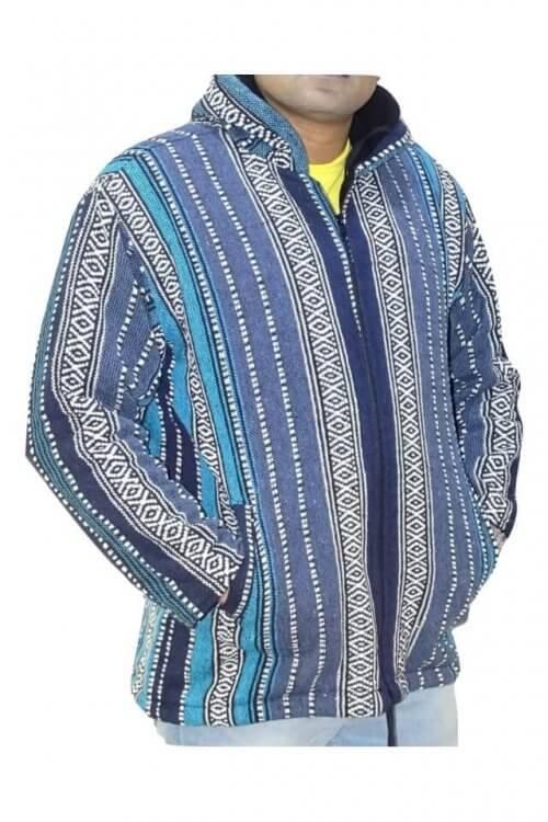 Férfi kabát kék csíkos színben