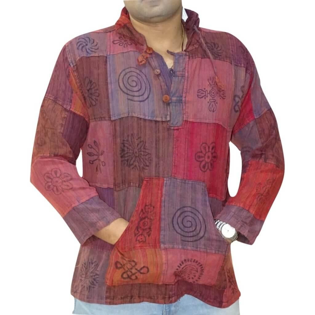 Férfi ing bordó színes kockás színben