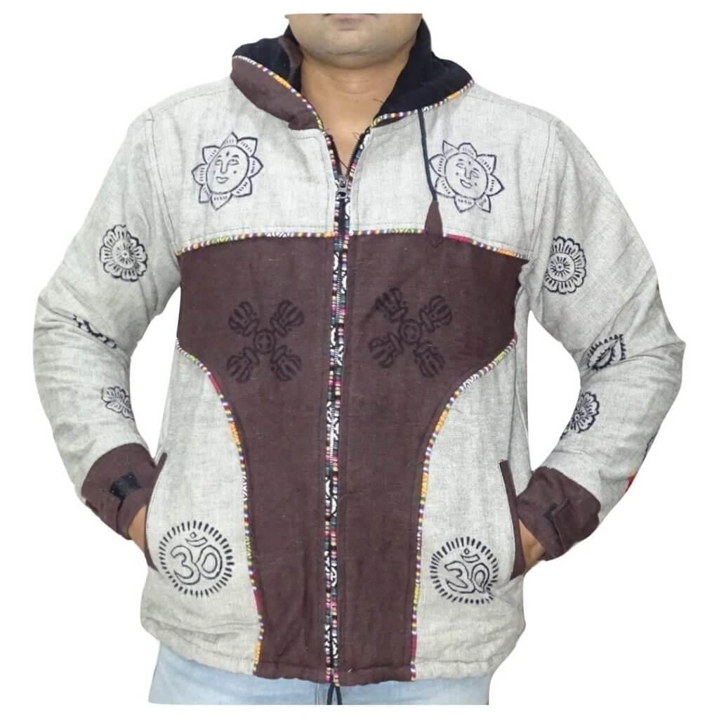 Férfi kabát krém-barna OM minta színben