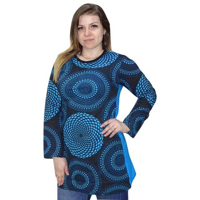 Nepáli tunika kék színben kör minta