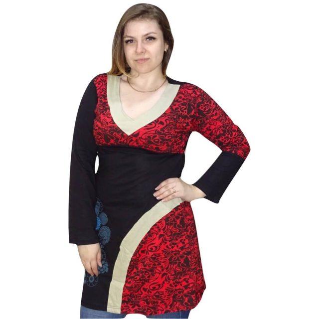 Nepáli tunika piros színben mandala minta