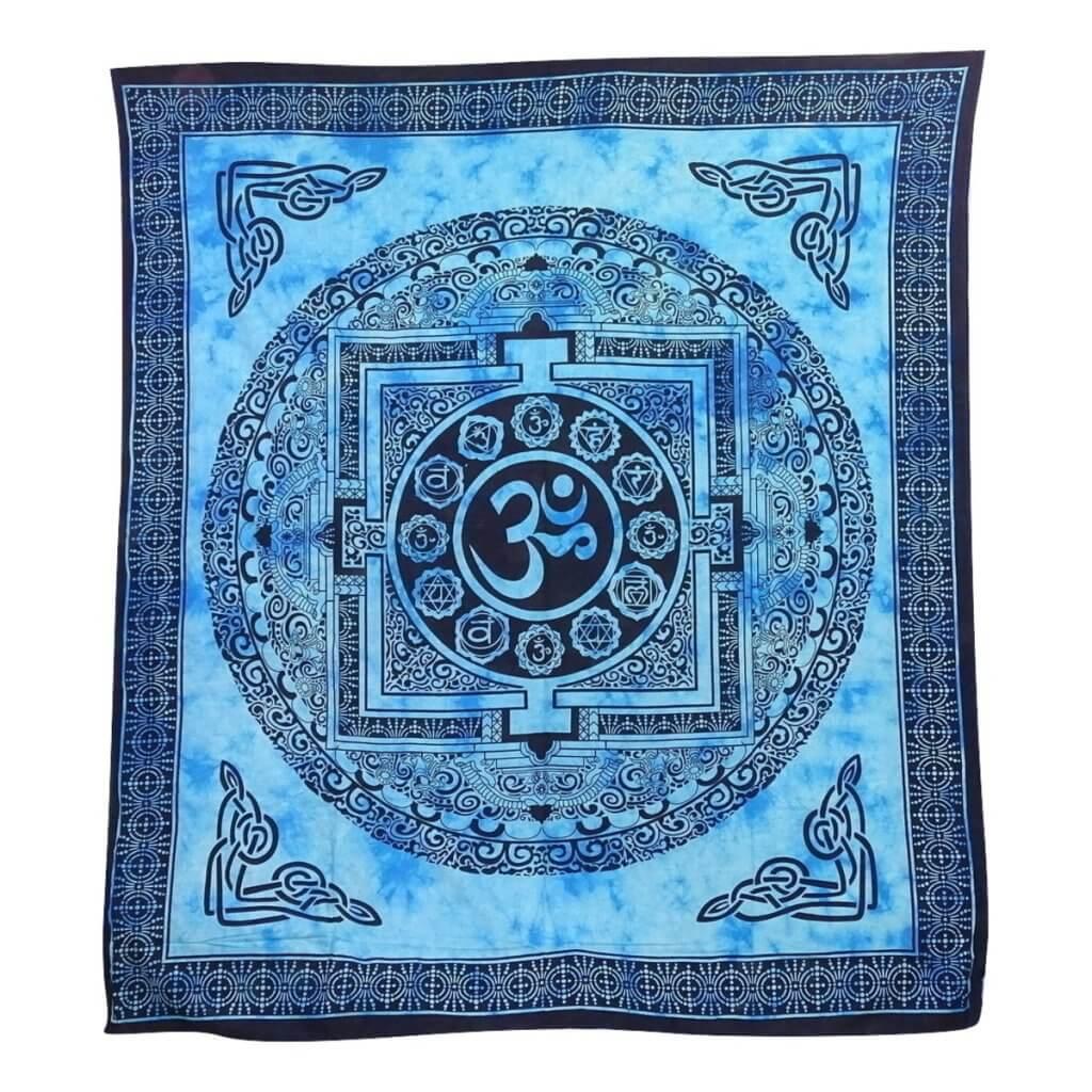 OM mintás falidísz Indiából kék színben