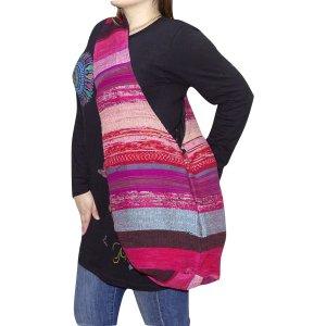Nepáli táska pamutból pink csíkos színben