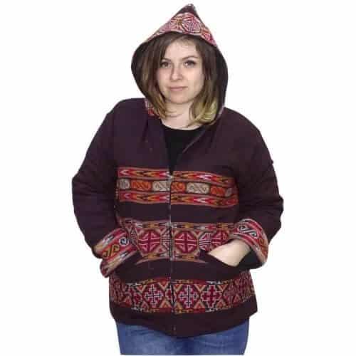 Indiai gyapjú kabát csíkos mintával