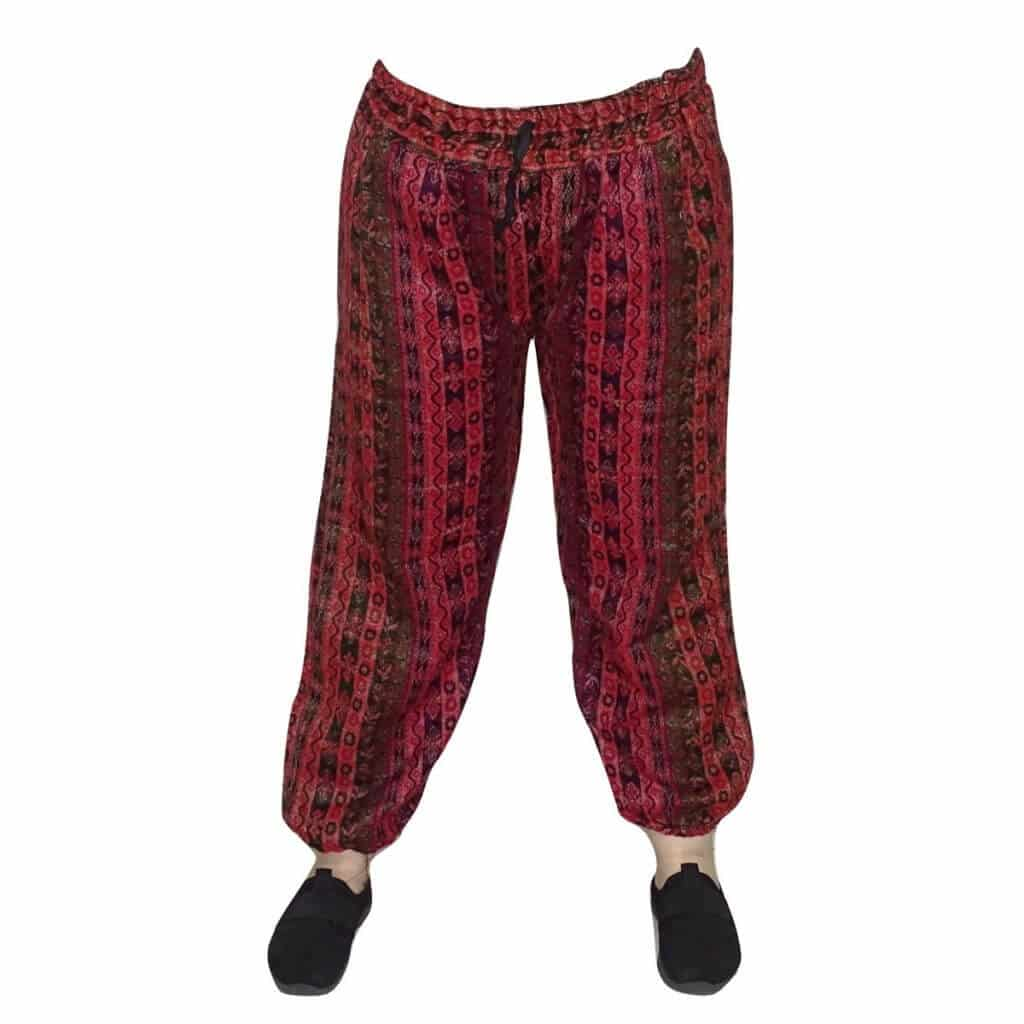 Pamut nadrág Indiából virág minta piros színben