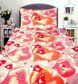 3 részes flanel ágynemű piros szinben nagy szív mintával