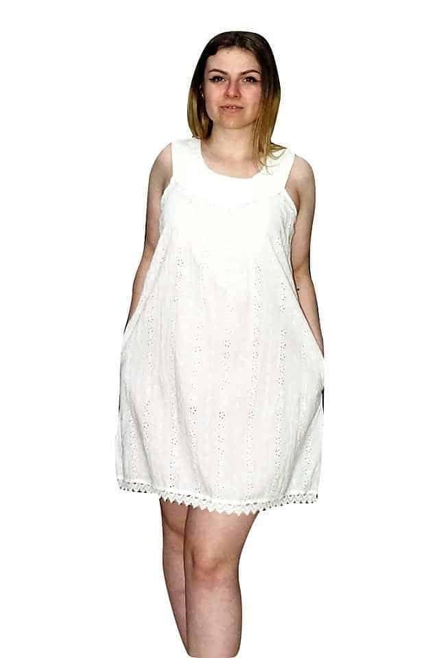 nyári pamut ruha indiából fehér színben
