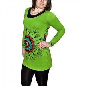 elegáns rövid ruhák Tunika Mandala Jellegű Zőld Színben