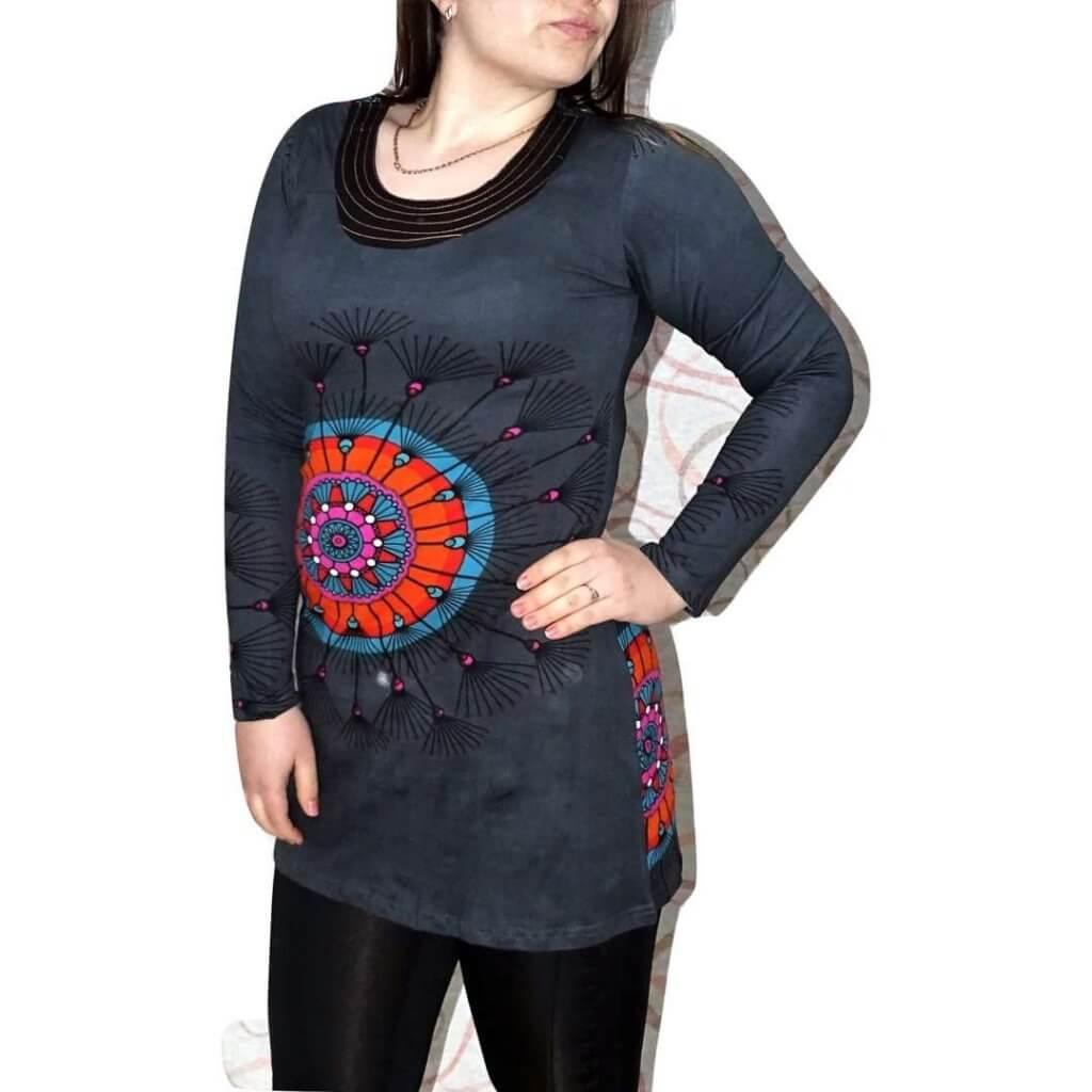 Elegáns pamut tunika Indiából mandala mintával
