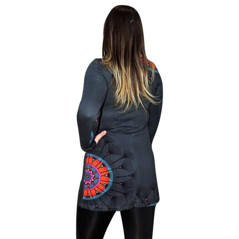 elegáns rövid ruhák Tunika Mandala Jellegű Szűrke Színben