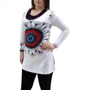 elegáns rövid ruhák Tunika Mandala Jellegű Fehér Színben