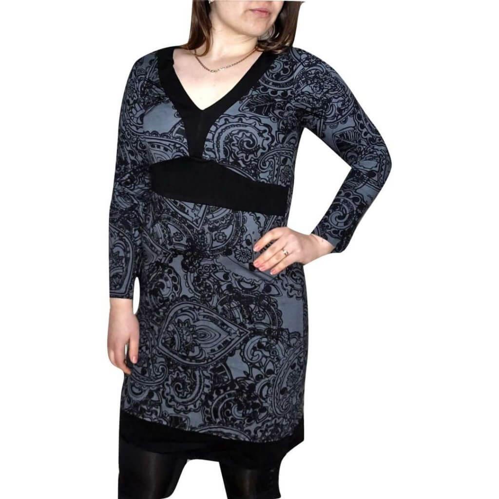 elegáns rövid ruhák Tunika Fekete Színben Egyedi Minta