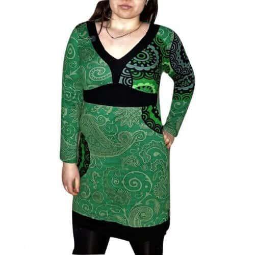 elegáns rövid ruhák Női Tunika zőld Színben mandala mintás