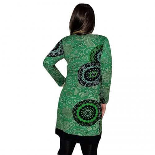44a9bff433 elegáns rövid ruhák Női Tunika zőld Színben mandala mintás