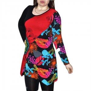 elegáns rövid ruhák Fekete-piros színes tunika kék virág mintával