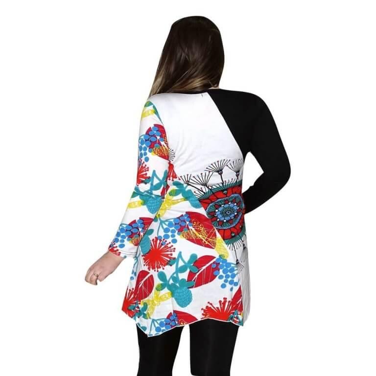 elegáns rövid ruhák Tunika Fekete-fehér színes tunika levél és virág mintával