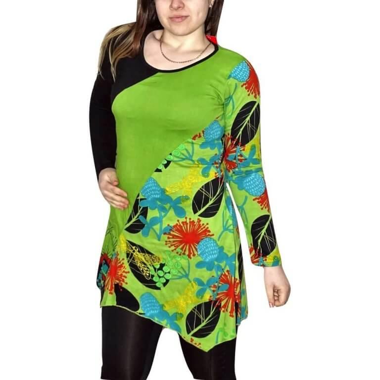 elegáns rövid ruhák Fekete-zöld színes tunika levél és virág mintával