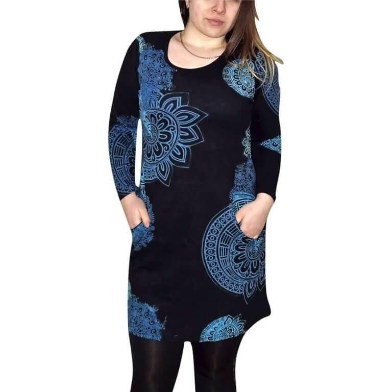 elegáns rövid ruhák tunika fekete alapon egyedi mintával kék színnel