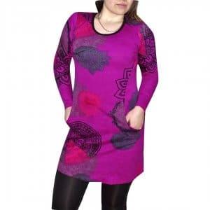 e0322a755d elegáns rövid ruhák női tunika lila alapon egyedi mintával fekete színnel