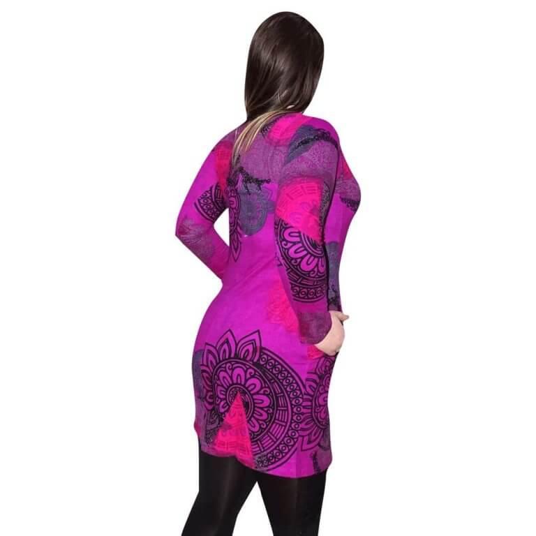 elegáns rövid ruhák női tunika lila alapon egyedi mintával fekete színnel