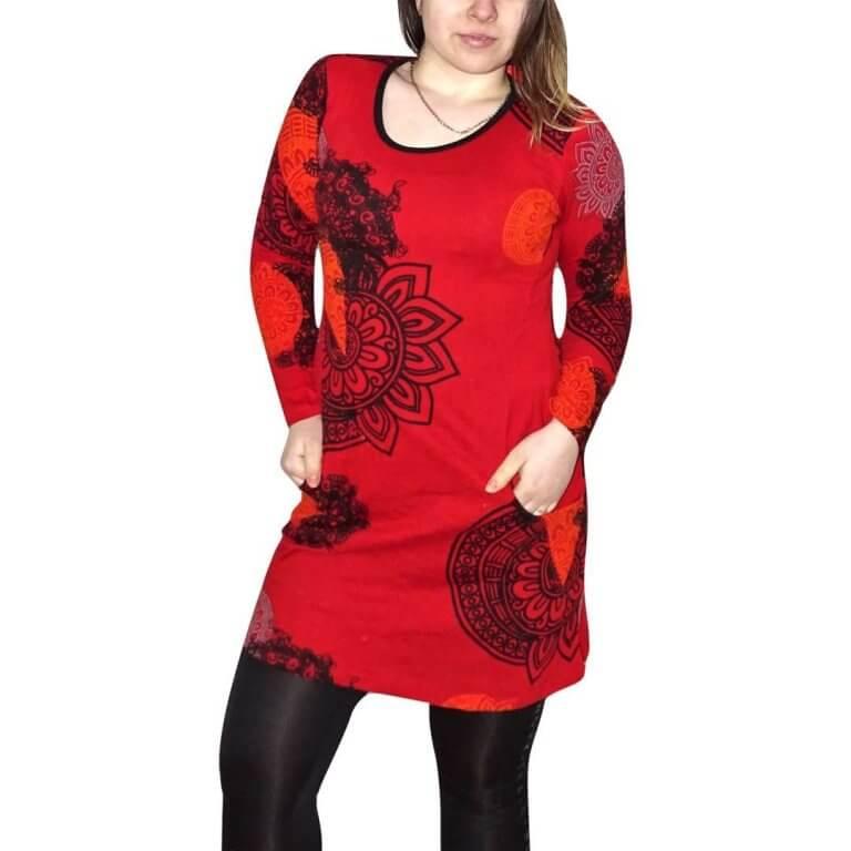 elegáns rövid ruhák tunika piros alapon egyedi mintával fekete színnel