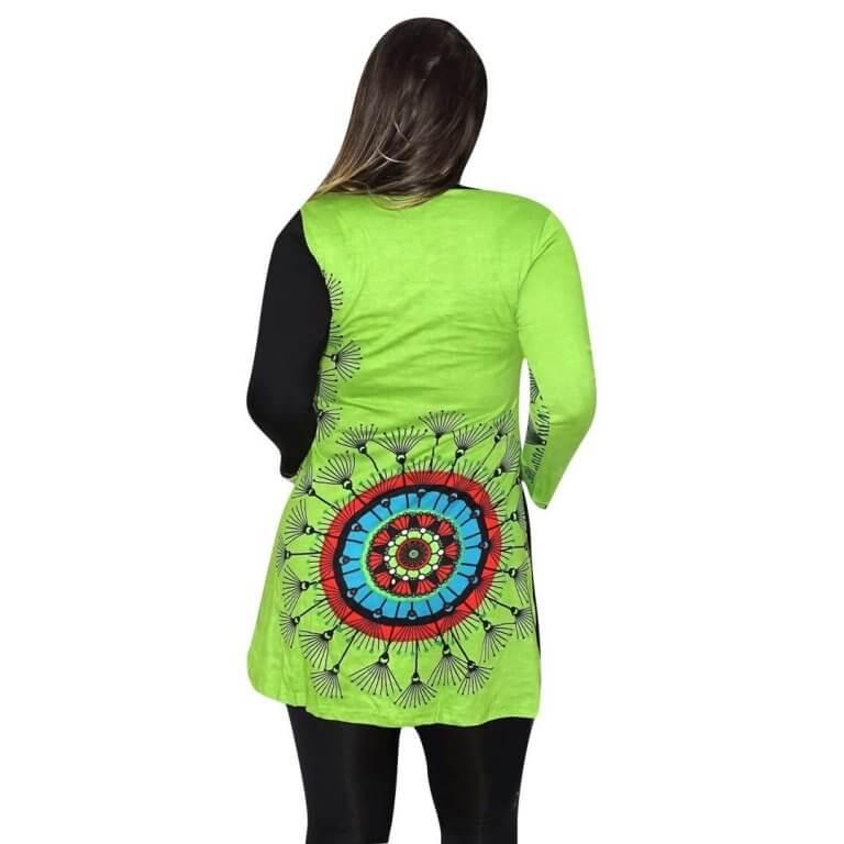 elegáns rövid ruhák Tunika Zöld tunika mandala mintával