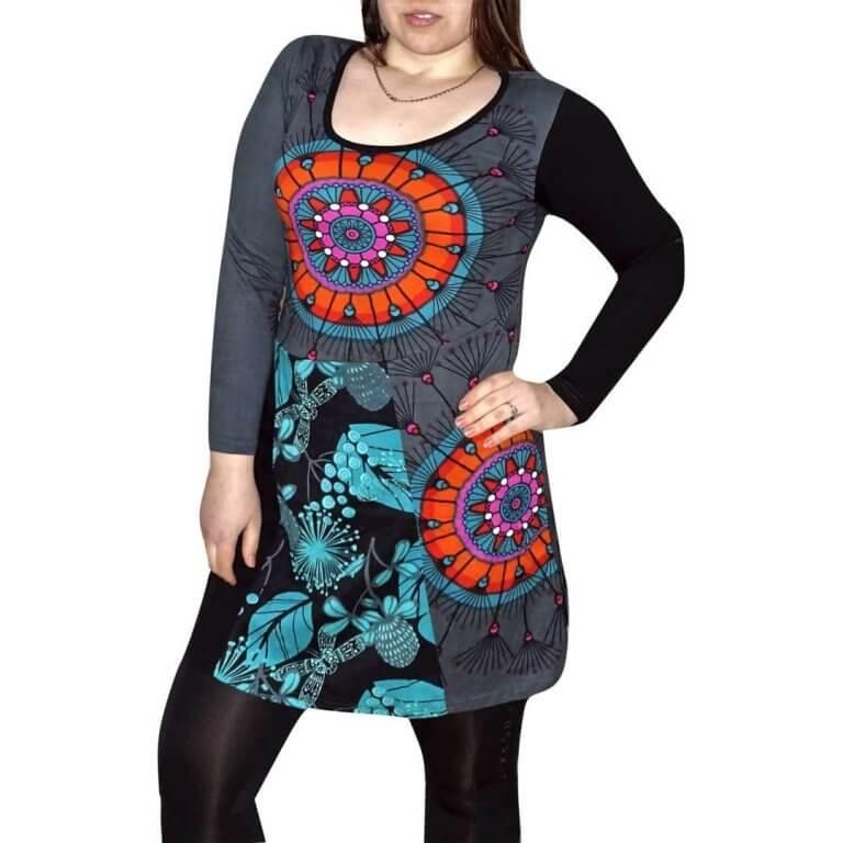 elegáns rövid ruhák Tunika Szürke színben mandala mintás