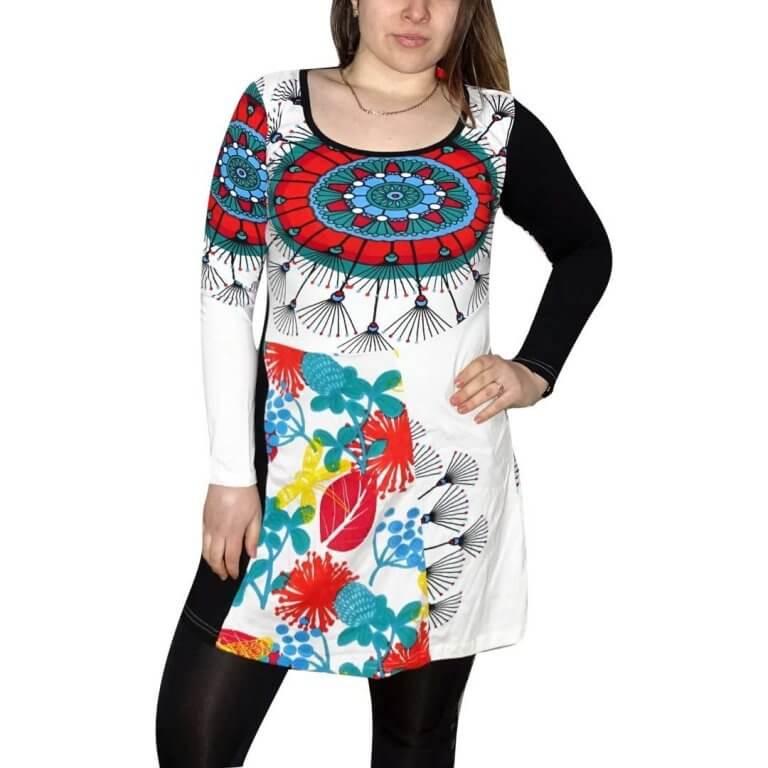 elegáns rövid ruhák Tunika Fehér alapon mandala mintás
