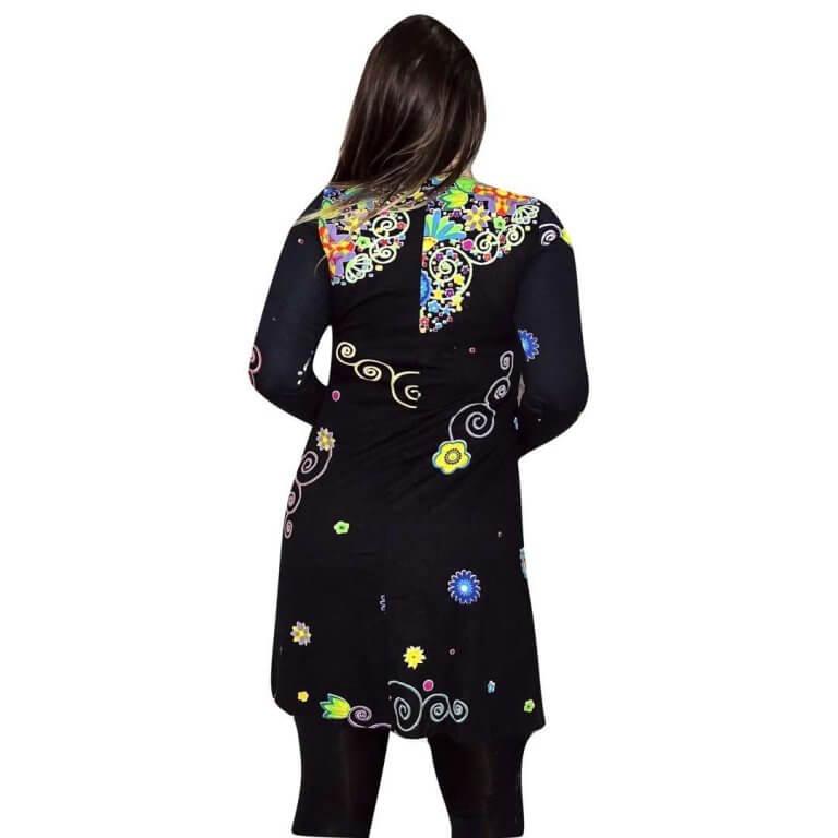 elegáns rövid ruhák Tunika Fekete alapon egyedi virág mintával