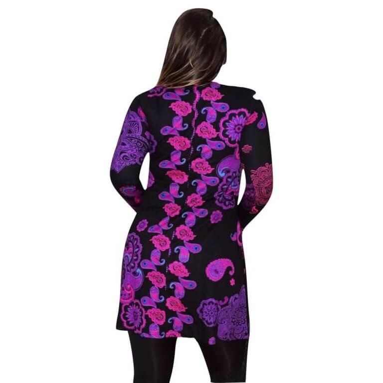 elegáns rövid ruhák Tunika Fekete alapon egyedi pink mintával