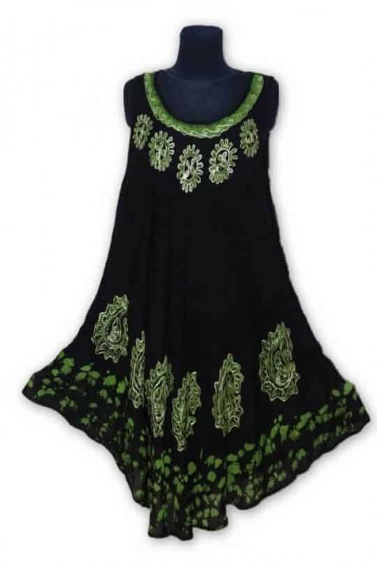 Csinos, rövid nyári ruha Indiából batikolt RS150 zöld